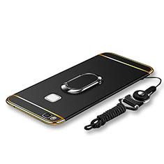 Funda Bumper Lujo Marco de Metal y Plastico Carcasa con Anillo de dedo Soporte y Lanyard para Huawei P9 Lite Negro