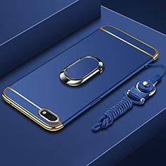 Funda Bumper Lujo Marco de Metal y Plastico Carcasa con Anillo de dedo Soporte y Lanyard para Huawei Y5 Prime (2018) Azul