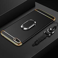 Funda Bumper Lujo Marco de Metal y Plastico Carcasa con Anillo de dedo Soporte y Lanyard para Huawei Y5 Prime (2018) Negro