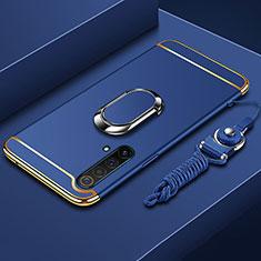 Funda Bumper Lujo Marco de Metal y Plastico Carcasa con Anillo de dedo Soporte y Lanyard para Realme X50 5G Azul