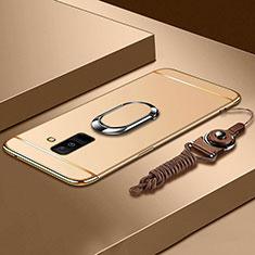 Funda Bumper Lujo Marco de Metal y Plastico Carcasa con Anillo de dedo Soporte y Lanyard para Samsung Galaxy A6 Plus (2018) Oro