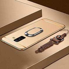 Funda Bumper Lujo Marco de Metal y Plastico Carcasa con Anillo de dedo Soporte y Lanyard para Samsung Galaxy A6 Plus Oro