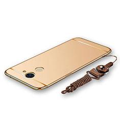 Funda Bumper Lujo Marco de Metal y Plastico Carcasa con Lanyard para Huawei Enjoy 7 Plus Oro