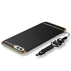 Funda Bumper Lujo Marco de Metal y Plastico Carcasa con Lanyard para Huawei Honor View 10 Negro