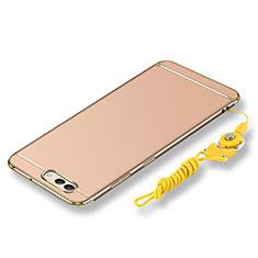 Funda Bumper Lujo Marco de Metal y Plastico Carcasa con Lanyard para Huawei Nova 2S Oro