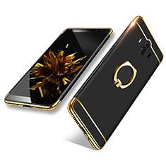 Funda Bumper Lujo Marco de Metal y Plastico con Anillo de dedo Soporte A02 para Huawei Mate 10 Negro