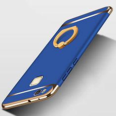 Funda Bumper Lujo Marco de Metal y Plastico con Anillo de dedo Soporte para Huawei G9 Lite Azul