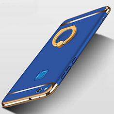 Funda Bumper Lujo Marco de Metal y Plastico con Anillo de dedo Soporte para Huawei Honor 8 Lite Azul