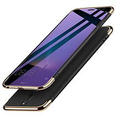 Funda Bumper Lujo Marco de Metal y Plastico con Anillo de dedo Soporte para Huawei Mate 10 Lite Negro