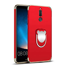 Funda Bumper Lujo Marco de Metal y Plastico con Anillo de dedo Soporte para Huawei Mate 10 Lite Rojo