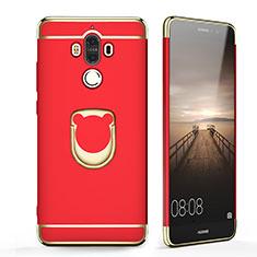 Funda Bumper Lujo Marco de Metal y Plastico con Anillo de dedo Soporte para Huawei Mate 9 Rojo