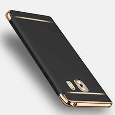 Funda Bumper Lujo Marco de Metal y Plastico con Anillo de dedo Soporte para Samsung Galaxy C9 Pro C9000 Negro