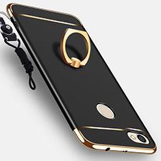 Funda Bumper Lujo Marco de Metal y Plastico con Anillo de dedo Soporte para Xiaomi Redmi Note 5A Prime Negro