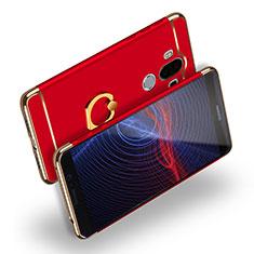 Funda Bumper Lujo Marco de Metal y Plastico con Anillo de dedo Soporte Q04 para Huawei Mate 9 Rojo