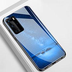 Funda Bumper Silicona Gel Espejo Estrellado Carcasa S01 para Huawei P40 Pro Azul