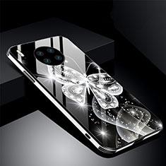 Funda Bumper Silicona Gel Espejo Flores Carcasa C01 para Huawei Mate 30 Pro Negro