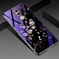 Funda Bumper Silicona Gel Espejo Flores Carcasa H01 para Huawei Mate 20 Lite Morado
