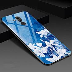 Funda Bumper Silicona Gel Espejo Flores Carcasa H02 para Huawei Mate 20 Lite Azul