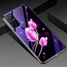 Funda Bumper Silicona Gel Espejo Flores Carcasa para Huawei Honor 30S Rosa