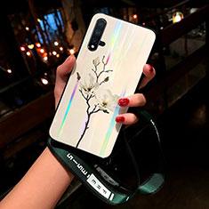 Funda Bumper Silicona Gel Espejo Flores Carcasa para Huawei Nova 5 Blanco
