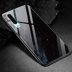 Funda Bumper Silicona Gel Espejo Patron de Moda Carcasa K01 para Huawei P30 Negro
