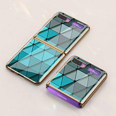 Funda Bumper Silicona Gel Espejo Patron de Moda Carcasa para Samsung Galaxy Z Flip 5G Cian