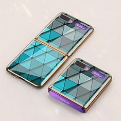 Funda Bumper Silicona Gel Espejo Patron de Moda Carcasa para Samsung Galaxy Z Flip Cian