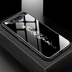 Funda Bumper Silicona Gel Espejo Patron de Moda Carcasa S01 para Samsung Galaxy A80 Negro