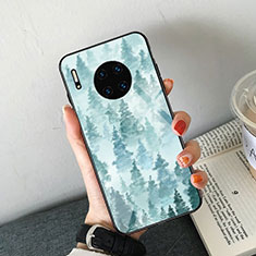 Funda Bumper Silicona Gel Espejo Patron de Moda Carcasa S02 para Huawei Mate 30 5G Azul Cielo
