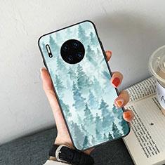 Funda Bumper Silicona Gel Espejo Patron de Moda Carcasa S02 para Huawei Mate 30E Pro 5G Azul Cielo