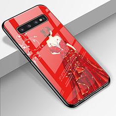 Funda Bumper Silicona Gel Espejo Vestido de Novia Carcasa K01 para Samsung Galaxy S10 Rojo