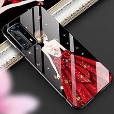 Funda Bumper Silicona Gel Espejo Vestido de Novia Carcasa para Huawei P40 Pro+ Plus Rojo