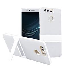 Funda Bumper Silicona Mate con Soporte para Huawei P9 Blanco