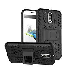 Funda Bumper Silicona Mate con Soporte para Motorola Moto G4 Plus Negro