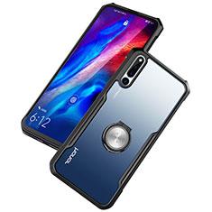 Funda Bumper Silicona Transparente Espejo 360 Grados con Magnetico Anillo de dedo Soporte A01 para Huawei Honor Magic 2 Negro