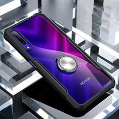 Funda Bumper Silicona Transparente Espejo 360 Grados con Magnetico Anillo de dedo Soporte para Huawei Honor 9X Pro Negro