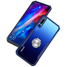 Funda Bumper Silicona Transparente Espejo 360 Grados con Magnetico Anillo de dedo Soporte para Huawei Honor Magic 2 Azul