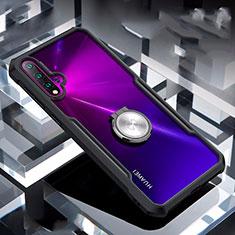 Funda Bumper Silicona Transparente Espejo 360 Grados con Magnetico Anillo de dedo Soporte para Huawei Nova 5 Negro