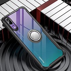 Funda Bumper Silicona Transparente Espejo 360 Grados con Magnetico Anillo de dedo Soporte para Huawei P20 Negro