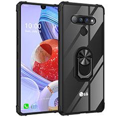 Funda Bumper Silicona Transparente Espejo 360 Grados con Magnetico Anillo de dedo Soporte para LG Stylo 6 Negro