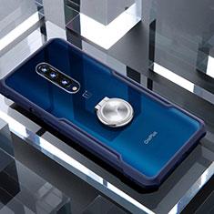 Funda Bumper Silicona Transparente Espejo 360 Grados con Magnetico Anillo de dedo Soporte para OnePlus 7 Pro Azul