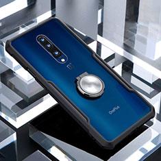 Funda Bumper Silicona Transparente Espejo 360 Grados con Magnetico Anillo de dedo Soporte para OnePlus 7 Pro Negro