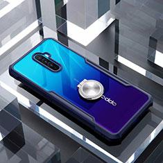 Funda Bumper Silicona Transparente Espejo 360 Grados con Magnetico Anillo de dedo Soporte para Realme X2 Pro Azul
