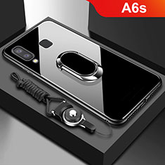 Funda Bumper Silicona Transparente Espejo 360 Grados con Magnetico Anillo de dedo Soporte para Samsung Galaxy A6s Negro