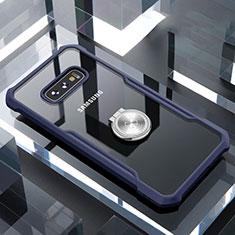 Funda Bumper Silicona Transparente Espejo 360 Grados con Magnetico Anillo de dedo Soporte para Samsung Galaxy S10e Azul