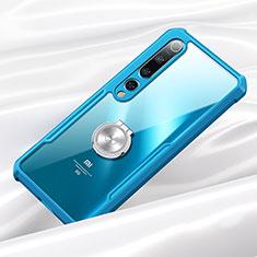 Funda Bumper Silicona Transparente Espejo 360 Grados con Magnetico Anillo de dedo Soporte para Xiaomi Mi 10 Azul
