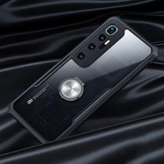 Funda Bumper Silicona Transparente Espejo 360 Grados con Magnetico Anillo de dedo Soporte para Xiaomi Mi 10 Ultra Negro