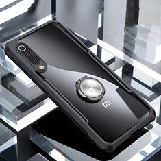 Funda Bumper Silicona Transparente Espejo 360 Grados con Magnetico Anillo de dedo Soporte para Xiaomi Mi 9 Pro Negro