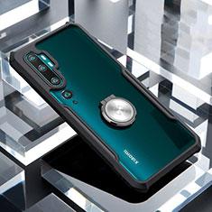 Funda Bumper Silicona Transparente Espejo 360 Grados con Magnetico Anillo de dedo Soporte para Xiaomi Mi Note 10 Negro