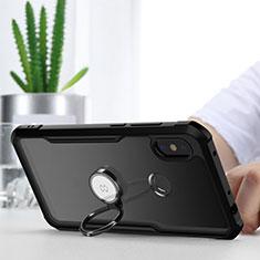 Funda Bumper Silicona Transparente Espejo 360 Grados con Magnetico Anillo de dedo Soporte para Xiaomi Redmi Note 6 Pro Negro